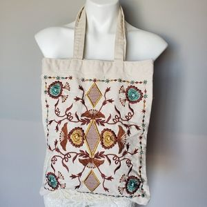 Folklore Embroidered Canvas Tote Shopping Bag